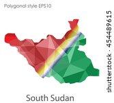 south sudan map in geometric...   Shutterstock .eps vector #454489615