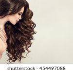 brunette  girl with long  and   ... | Shutterstock . vector #454497088
