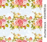 seamless floral pattern with... | Shutterstock .eps vector #454498516