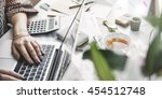 woman accountant working busy... | Shutterstock . vector #454512748
