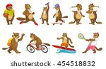set of cute beavers wearing... | Shutterstock .eps vector #454518832