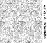 pharmacy hand drawn seamless... | Shutterstock .eps vector #454523425