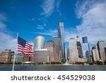 Usa Flag With Manhattan Skyline ...