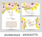 invitation with floral... | Shutterstock . vector #454533775