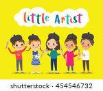 little artist  isolated kids... | Shutterstock .eps vector #454546732