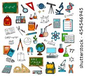 education supplies and objects. ... | Shutterstock .eps vector #454546945