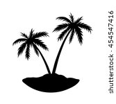 Two Palms On Island. Black...