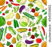 farm vegetables seamless... | Shutterstock .eps vector #454553002
