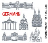germany landmarks thin line... | Shutterstock .eps vector #454553638