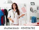 portrait of female dress maker... | Shutterstock . vector #454556782