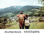 a couple of tourists in time of ... | Shutterstock . vector #454556896