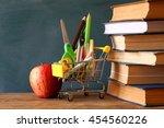 shopping cart with school... | Shutterstock . vector #454560226