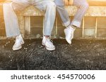 lovers couple with sneaker...   Shutterstock . vector #454570006