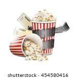 popcorn and movie film tape | Shutterstock .eps vector #454580416