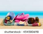 flip flops on the beach | Shutterstock . vector #454580698