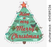 vintage christmas greeting card ... | Shutterstock . vector #454589236