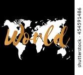 vector gold world map on black... | Shutterstock .eps vector #454591486
