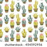 vector cactus hand drawn... | Shutterstock .eps vector #454592956