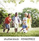 children playing football park... | Shutterstock . vector #454609822