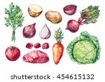 set of hand drawn vegetables... | Shutterstock . vector #454615132