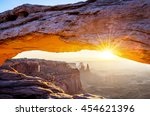 famous mesa arch at sunrise ... | Shutterstock . vector #454621396
