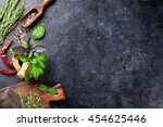 herbs and spices cooking on... | Shutterstock . vector #454625446