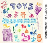doodle hand drawn toys. colored ... | Shutterstock .eps vector #454630948