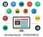 concept of online school  e... | Shutterstock .eps vector #454634812