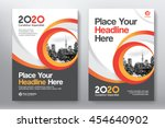 Orange Color Scheme with City Background Business Book Cover Design Template in A4. Can be adapt to Brochure, Annual Report, Magazine,Poster, Corporate Presentation, Portfolio, Flyer, Banner, Website | Shutterstock vector #454640902