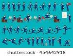 set of happy office man. vector ... | Shutterstock .eps vector #454642918