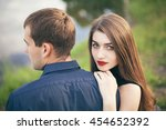 beautiful young loving couple... | Shutterstock . vector #454652392