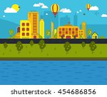 day urban landscape city real... | Shutterstock . vector #454686856