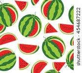 watermelon pattern. vector... | Shutterstock .eps vector #454687222
