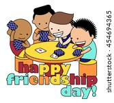 friends playing cards. vector... | Shutterstock .eps vector #454694365