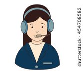 woman callcenter headphones  ... | Shutterstock .eps vector #454708582