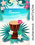 percussion drum with palm... | Shutterstock .eps vector #454714246