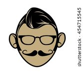 hipster cartoon face   isolated ... | Shutterstock .eps vector #454715545