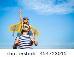 kid with jet pack pretend to be ... | Shutterstock . vector #454723015