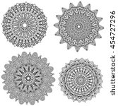 black mandala collection... | Shutterstock . vector #454727296