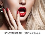 fashion blonde woman with... | Shutterstock . vector #454734118