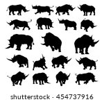 a set of rhino or rhinoceros... | Shutterstock .eps vector #454737916
