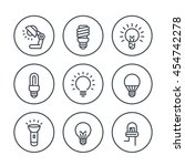 Light Bulbs Line Icons In...