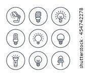 light bulbs line icons in... | Shutterstock .eps vector #454742278