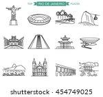 rio de janeiro landmarks and... | Shutterstock .eps vector #454749025