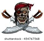 danger pirate skull in bandanna ... | Shutterstock .eps vector #454767568