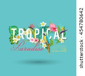 tropical bird and flowers... | Shutterstock .eps vector #454780642