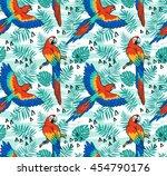 ara parrot  vector seamless... | Shutterstock .eps vector #454790176