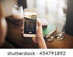 flight booking cafe destination ...   Shutterstock . vector #454791892