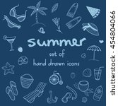 set of summer doodle icons....   Shutterstock .eps vector #454804066