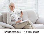 portrait of happy therapist... | Shutterstock . vector #454811005